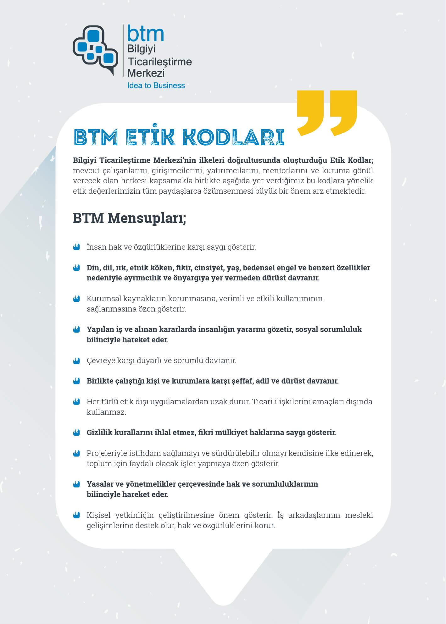 BTM Etik Kod